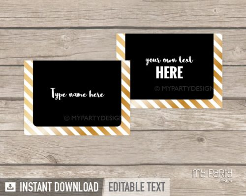 black and gold printable food labels