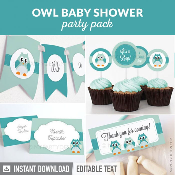 owl baby shower party decoration printables