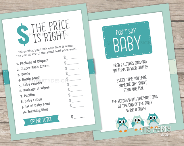 blue owl baby shower games