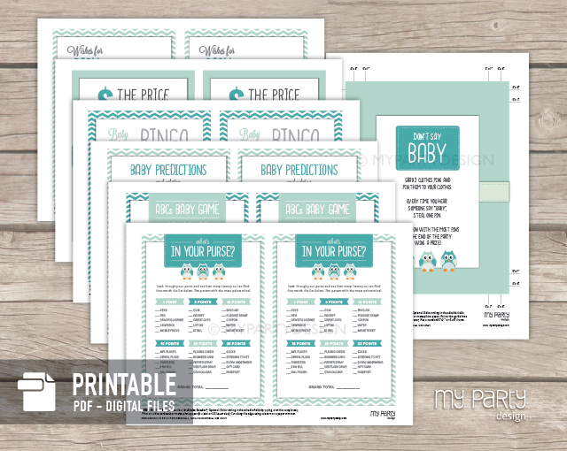 printable blue owl baby shower games