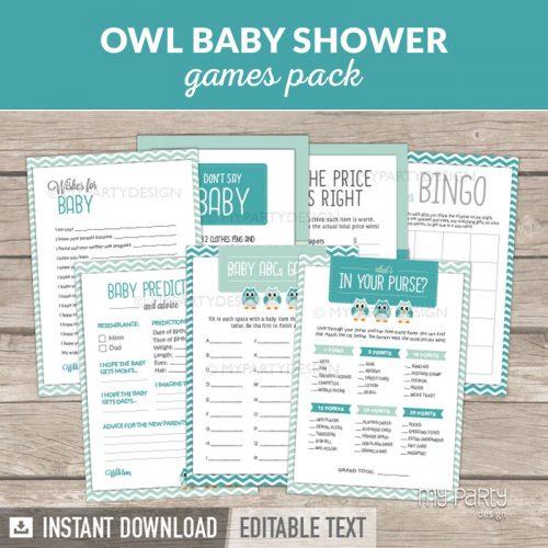 Owl Boy Baby Shower Games Printables
