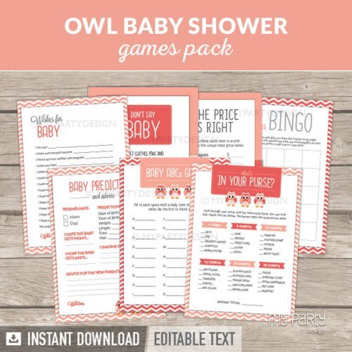 Owl Girl Baby Shower Games Printables