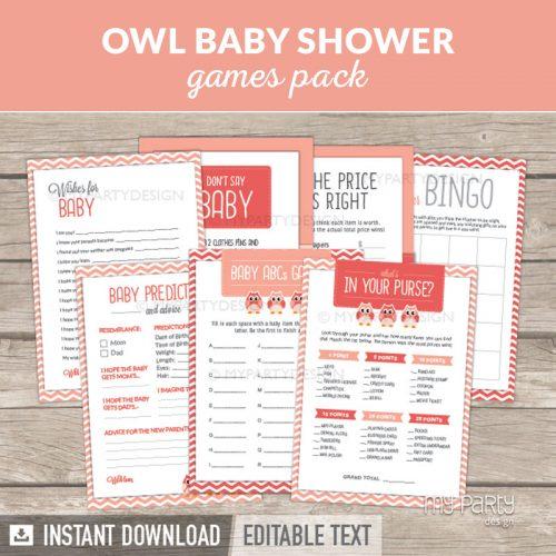 Owl Girl Baby Shower Games Printables