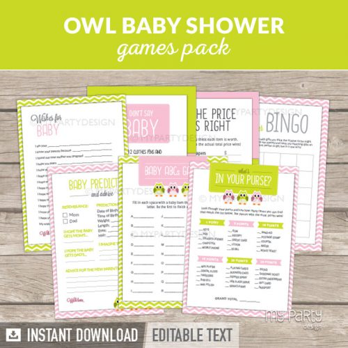 Owl Baby Shower Games Printables