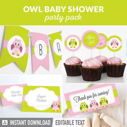 pink and green owl baby shower party decoration printables
