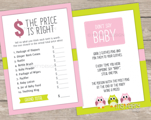 owl baby shower games