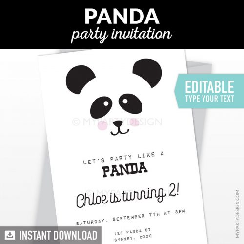 panda birthday invitation
