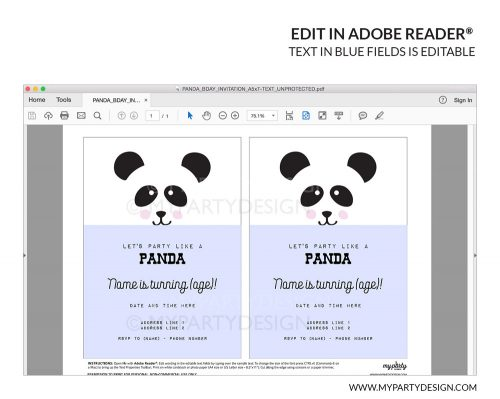 printable panda invitation with editable text