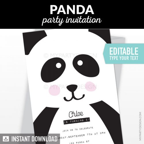 panda party invitation
