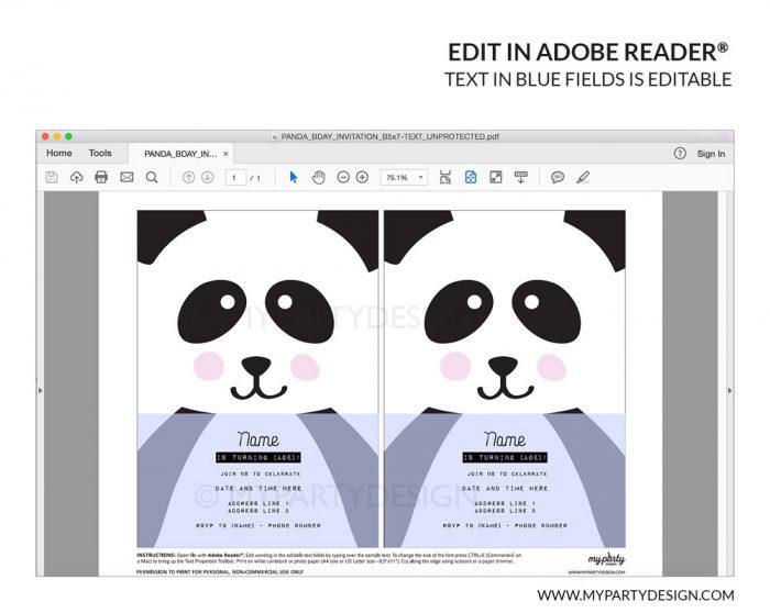printable panda invitation with editable text