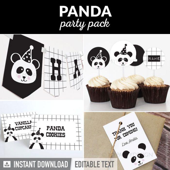 Panda Party decorations printables