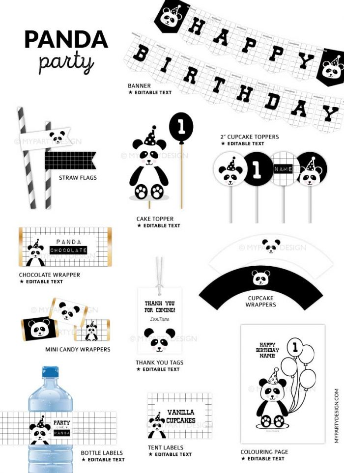 panda party printable decorations for birthday