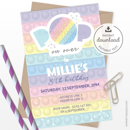 Pastel Pop Party Invitation for a fidgeting toy birthday