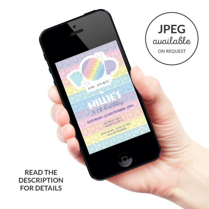 Digital Pastel Pop Party Invitation for a fidgeting toy birthday