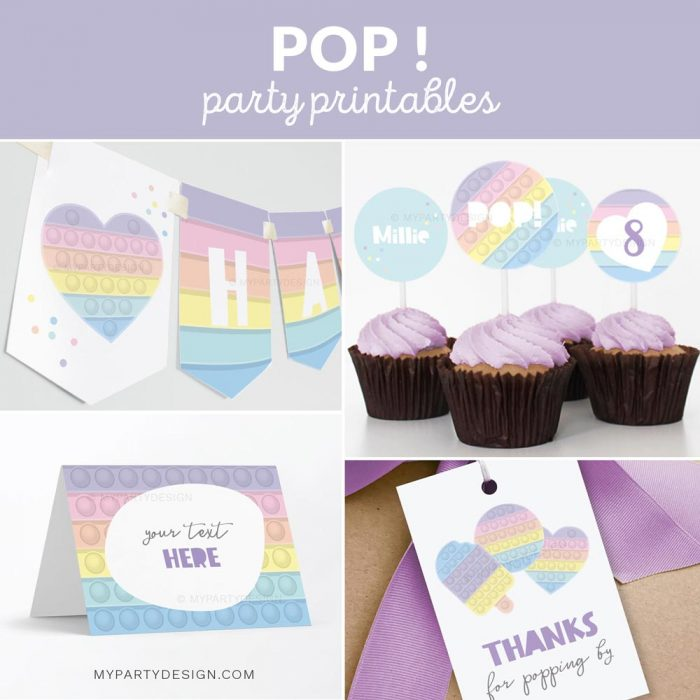 pastel pop party decoration printables