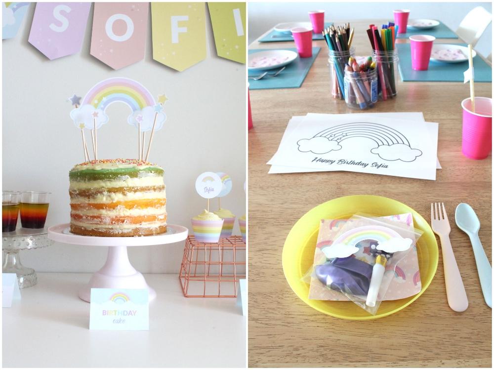 Rainbow birthday party cake and activities