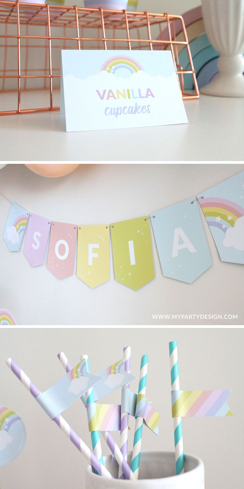 Rainbow Party labels and banner
