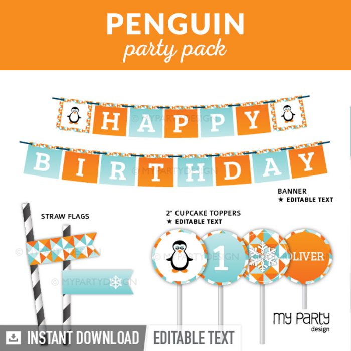 Penguin party decoration printables