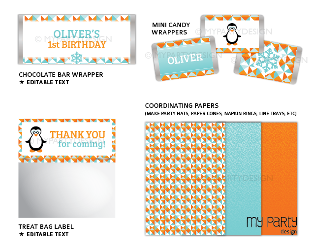 printable penguin birthday party decorations