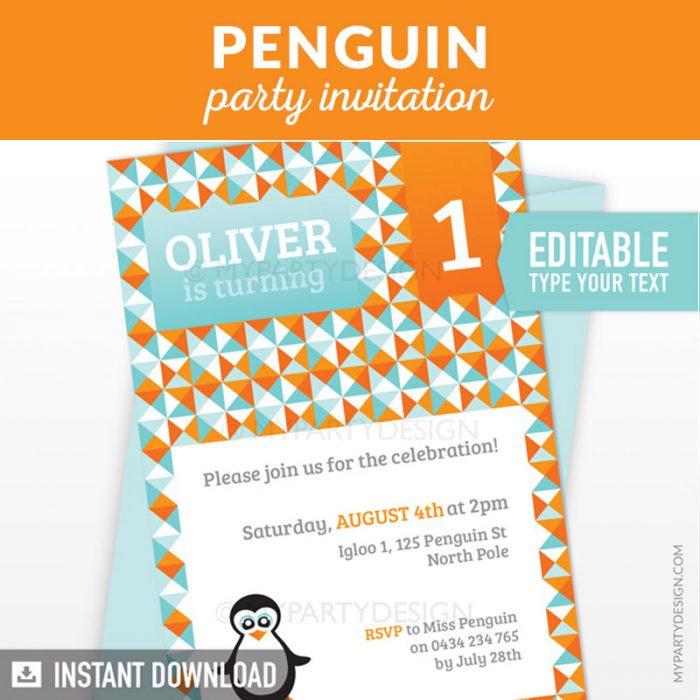 penguin birthday invitation printable