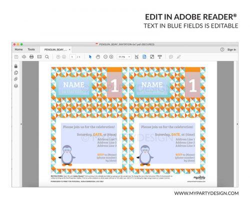 penguin party invitation - editable printable invite