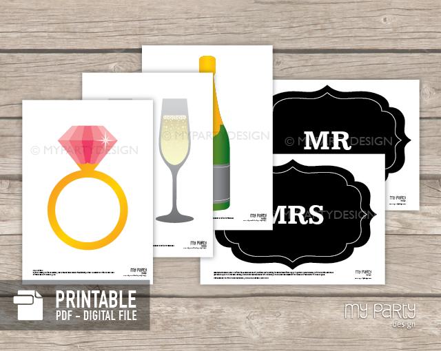 printable wedding photo booth props