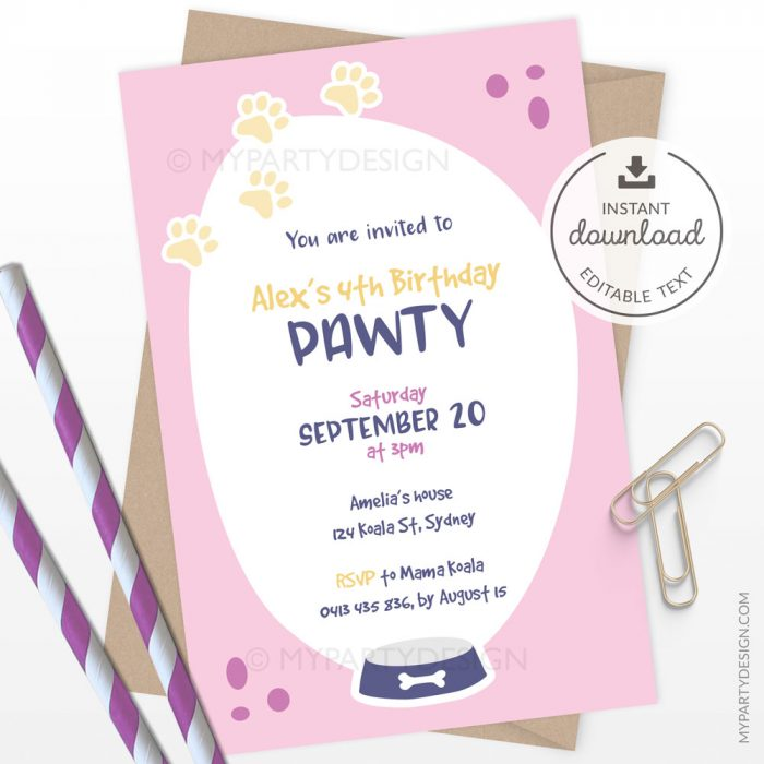 printable pink puppy birthday invitation for a dog themed party
