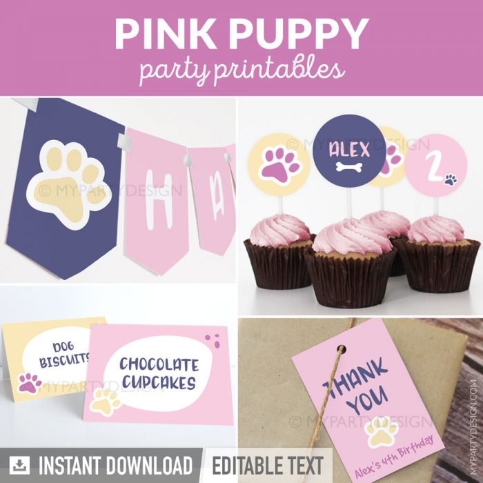 pink puppy party printables for a girl birthday