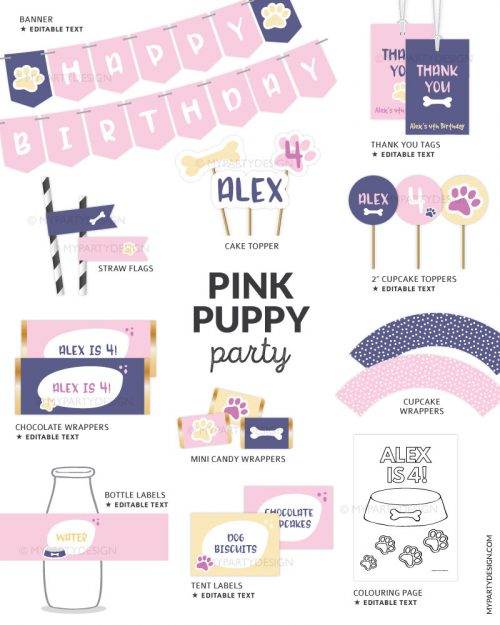 printable pink puppy party decorations for a girl birthday