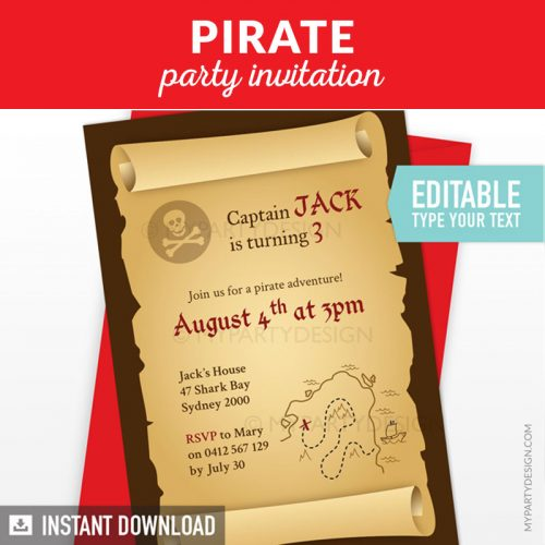 Pirate Party Invitation, Printable Instant Download with Editable Text