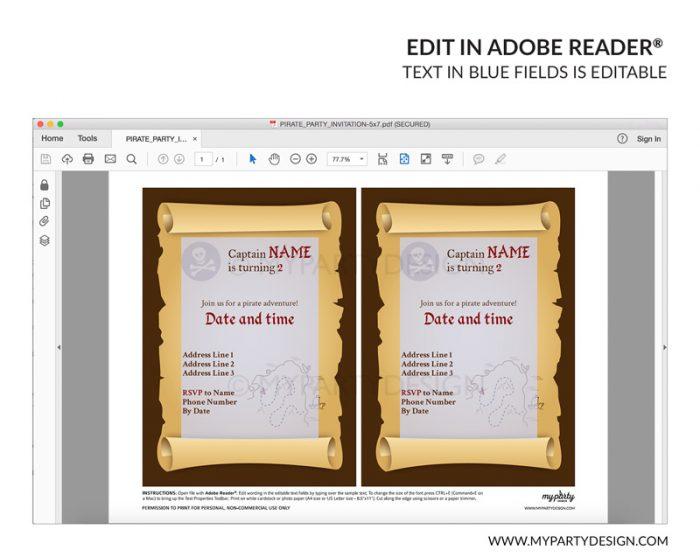 pirate party invitation - editable printable invite