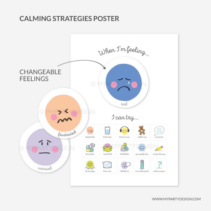 printable calm strategies poster for kids