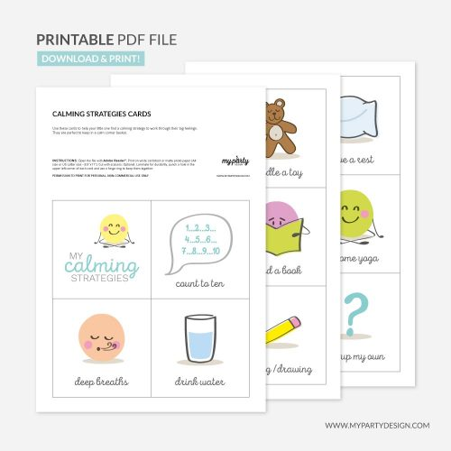printable calm down strategies cards for kids