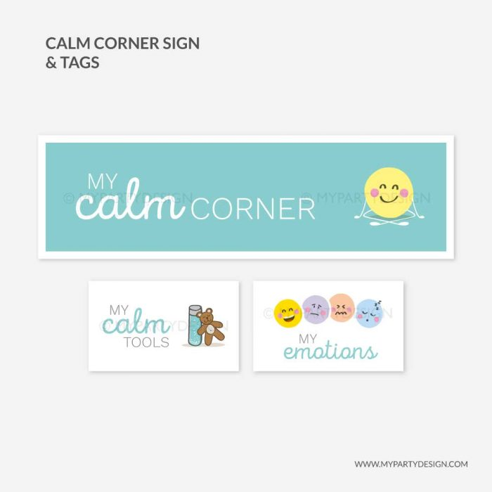 printable calm corner sign and labels