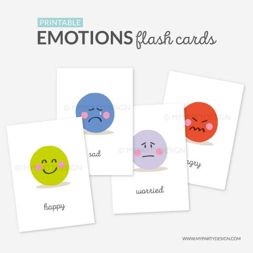 Emotions flash cards, learning printables