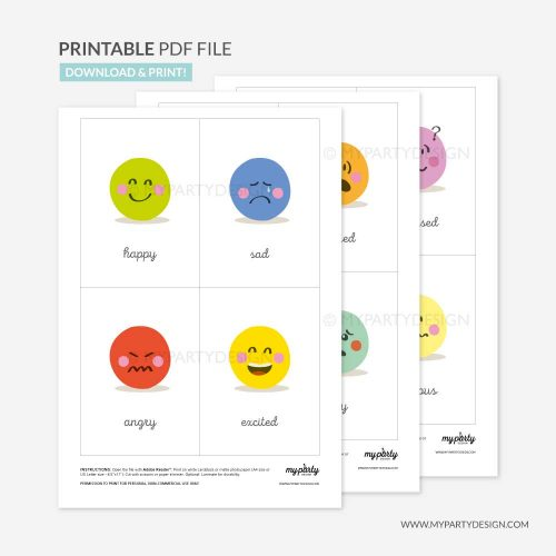 Printable emotions flashcards for toddlers