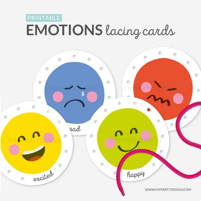 feelings lacing cards, learning printables