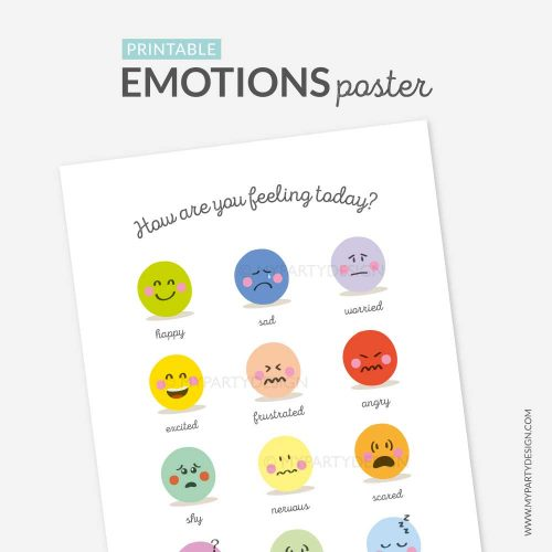printable feelings chart, emotions poster
