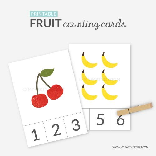 fruit counting cards printable