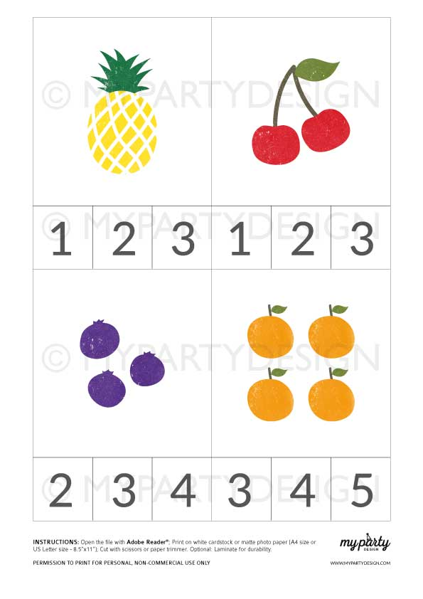 printable fruit counting cards