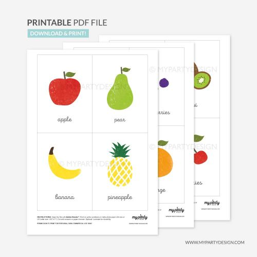 Printable Fruit Flash Cards
