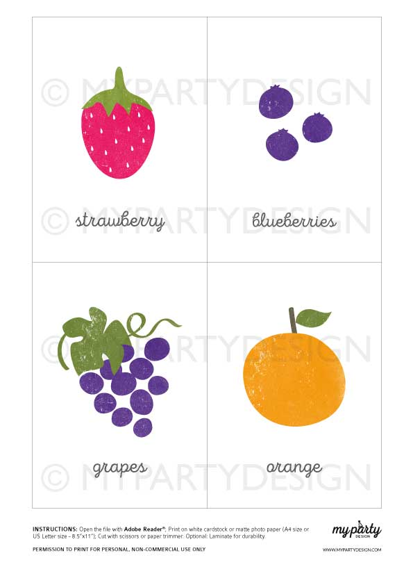 Early learning Fruit Flash Cards