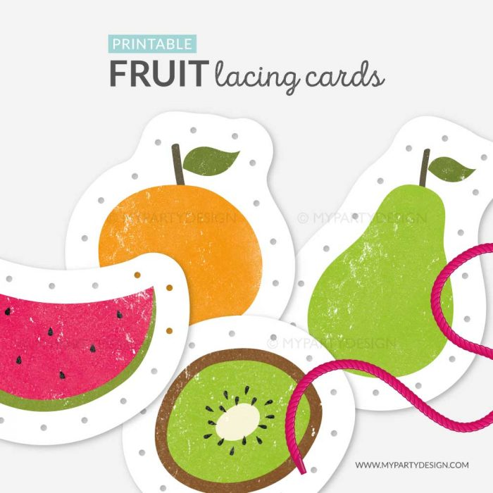 fruit lacing cards for threading practice