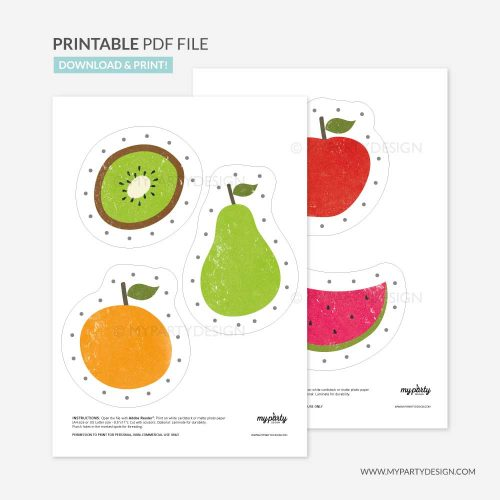 printable fruit lacing cards for threading practice