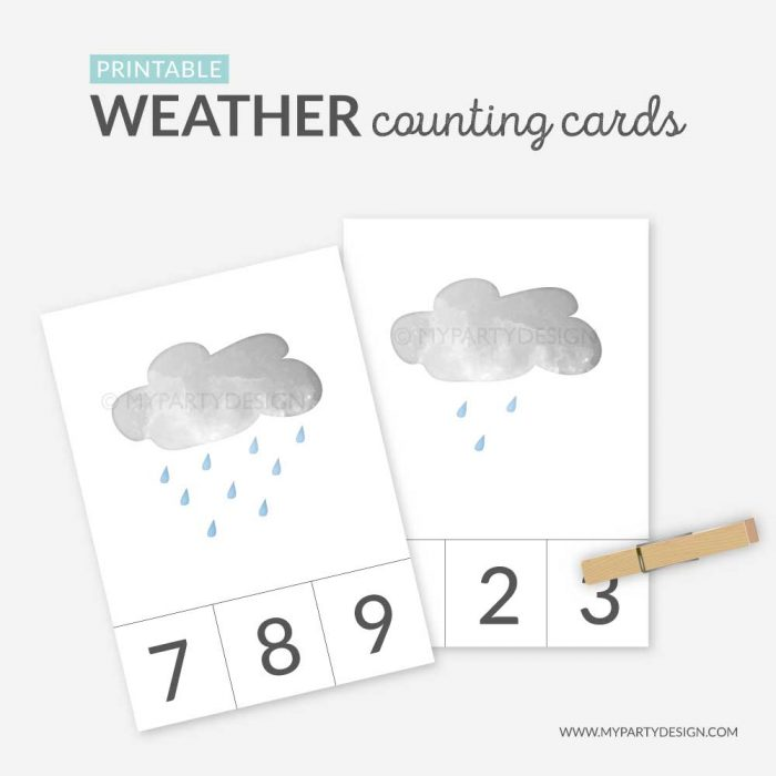 printable weather counting cards