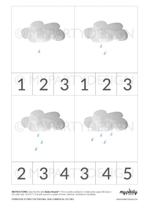 printable weather clip cards