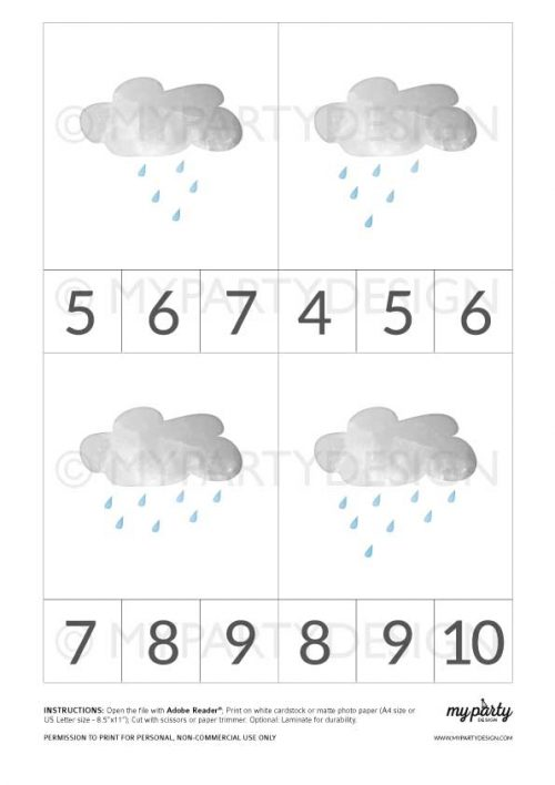 printable weather count and clip cards