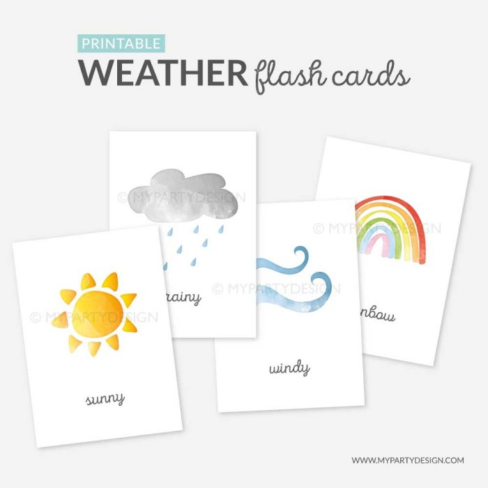 printable weather flashcards, learning printables