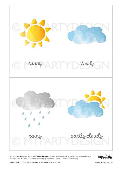 weather flashcards learning printables