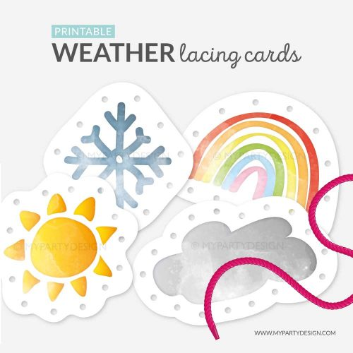 printable weather lacing cards for threading practice
